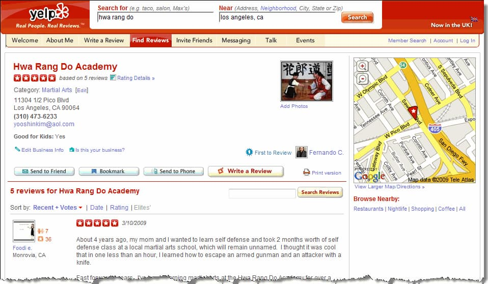 FREE Yelp Reviews Page